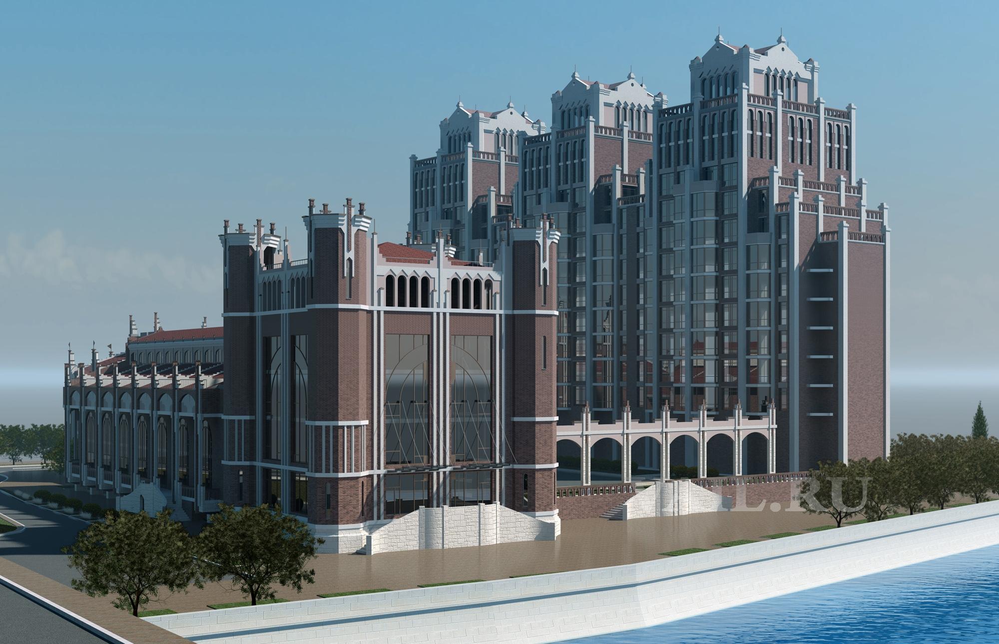 Проект МЖК. Вид на комплекс со стороны р. Преголя.