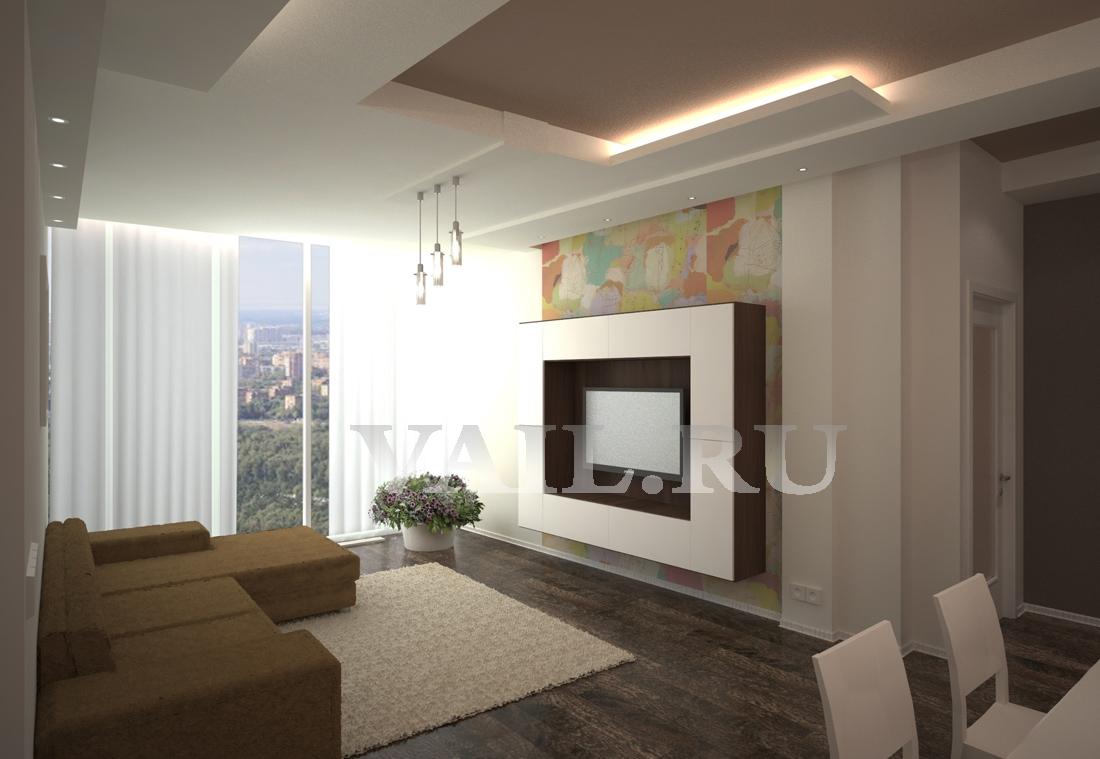 Гостиная, визуализация в 3D
