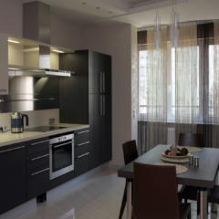 Кухня в черно-белой гамме