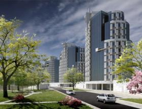 Проект многоквартирного жилого комплекса на Гвардейском проспекте в Калининграде, вид со двора