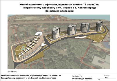 Планировка гостиничного комплекса с апартаментами по ул. Горногвардейской. КГД. 2015г.