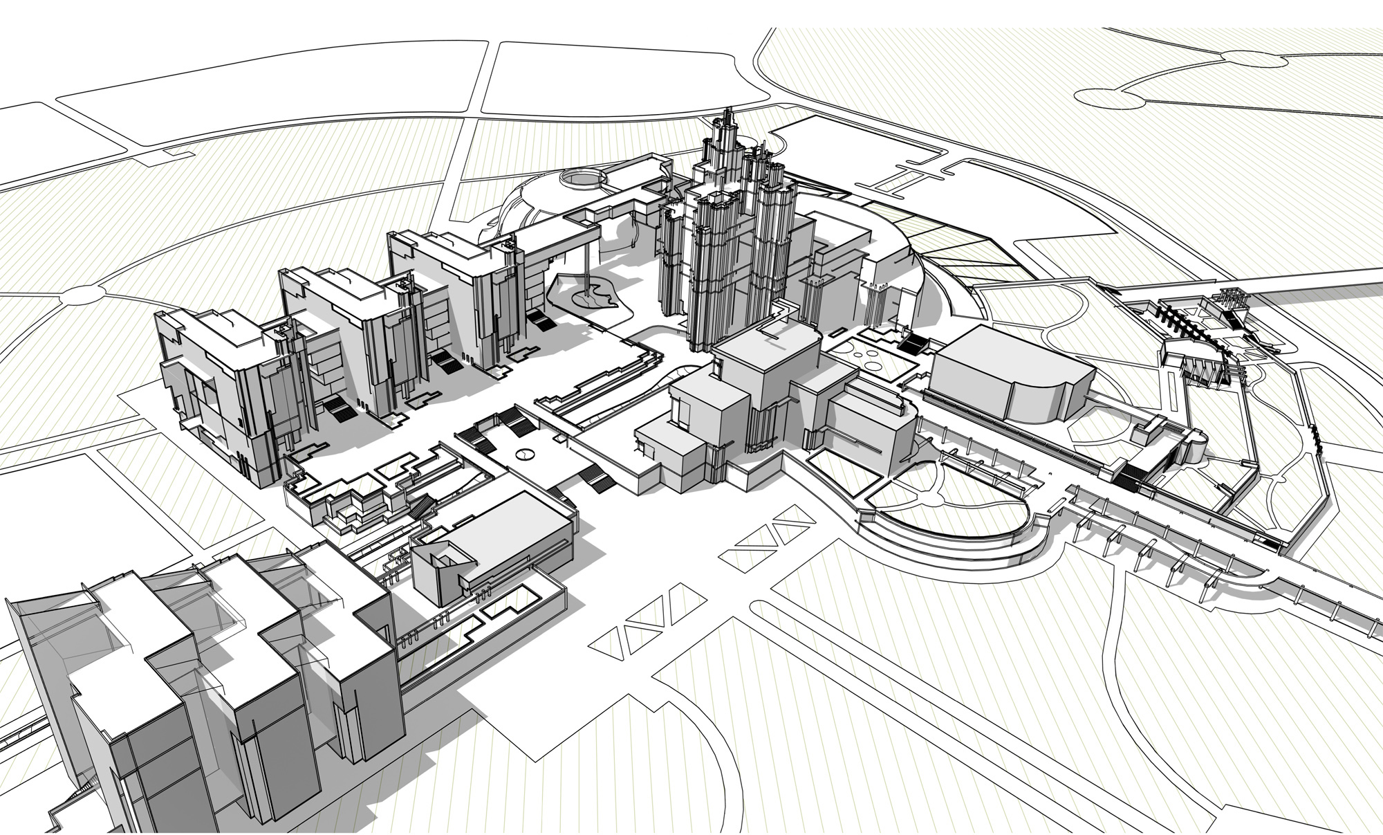 Проект кампуса университета в Новоситино. Вид сверху. 2011 г.
