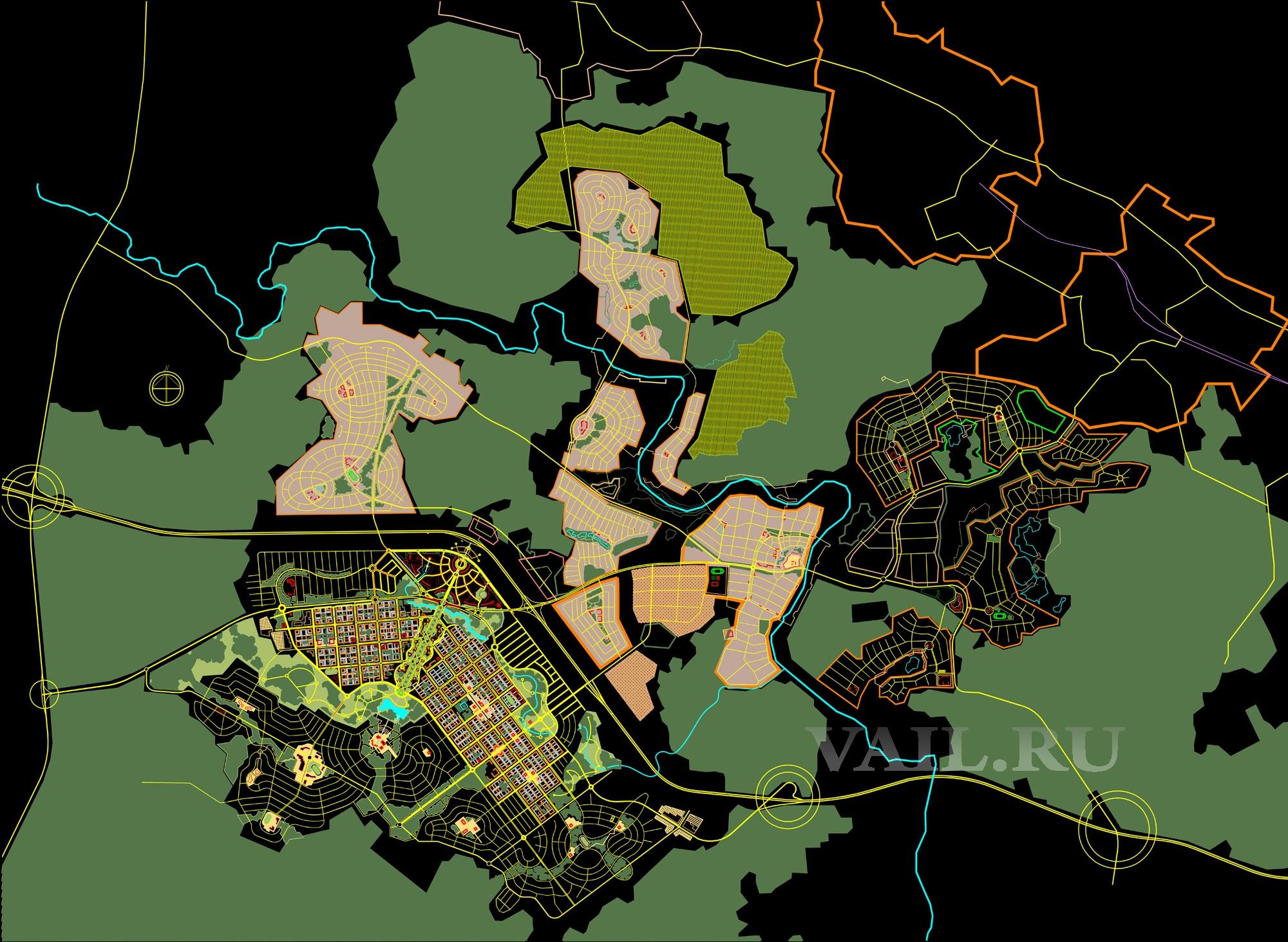 Новый город и предместья. Генплан 2010г