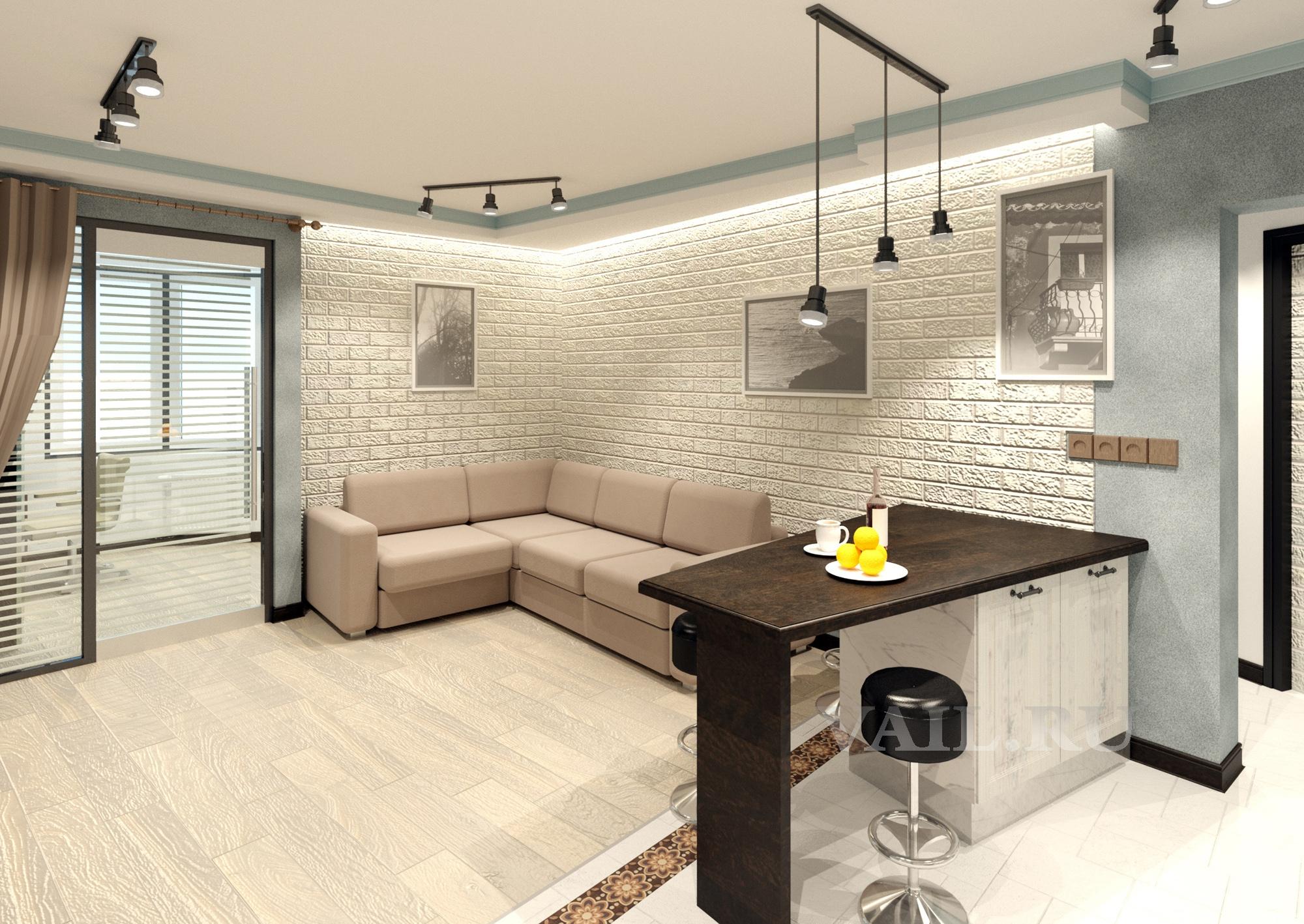 Интерьер гостиной и столовая зона