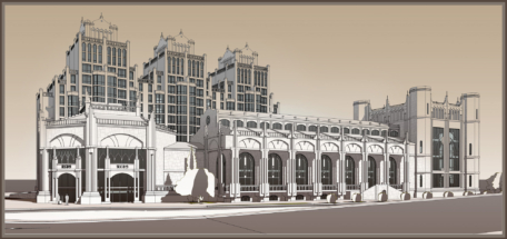 Проект МЖК. Вид на комплекс с Ленинского проспекта.
