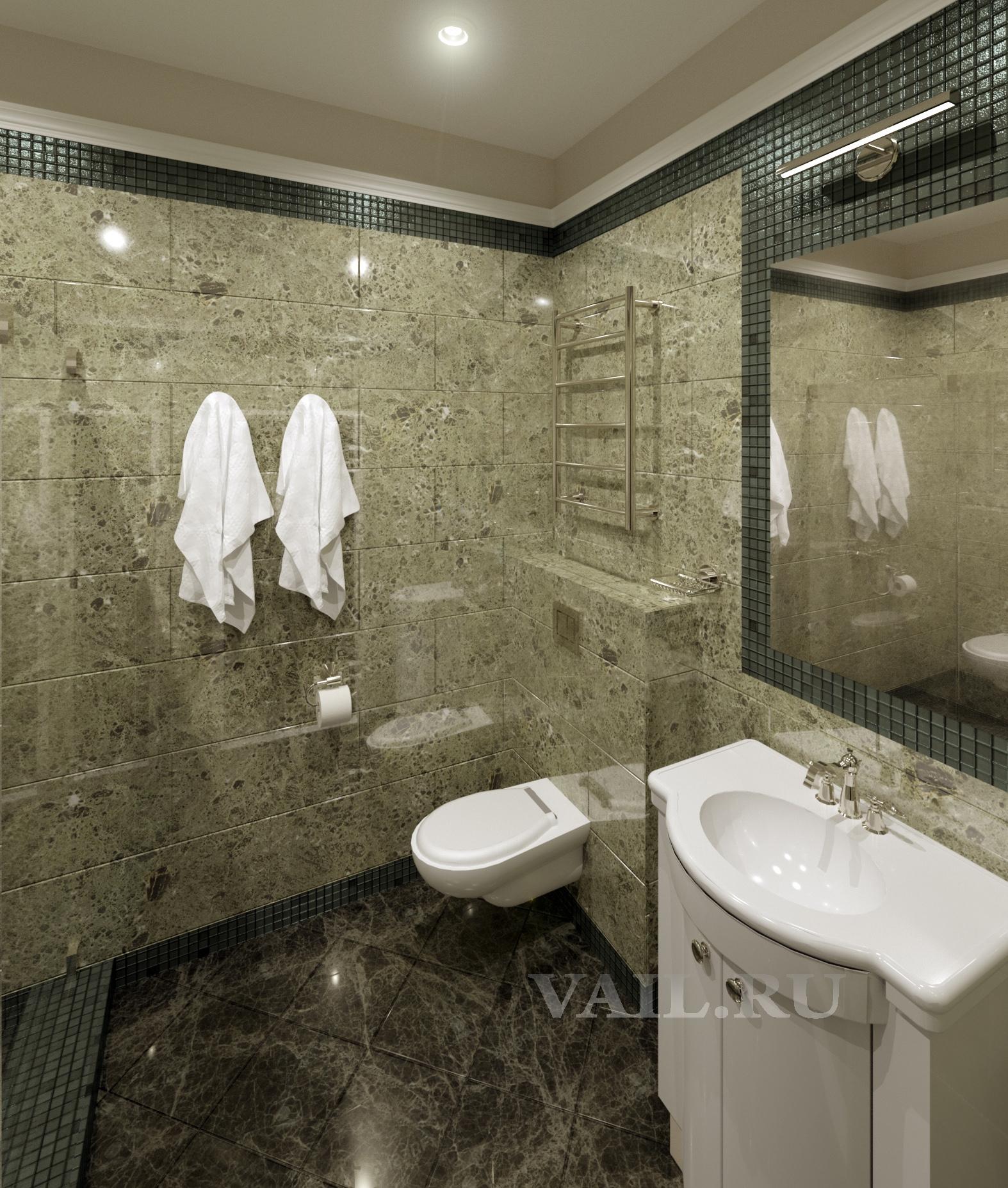 Интерьер гостевой ванной комнаты