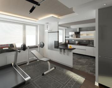 Спортивная зона, кухня