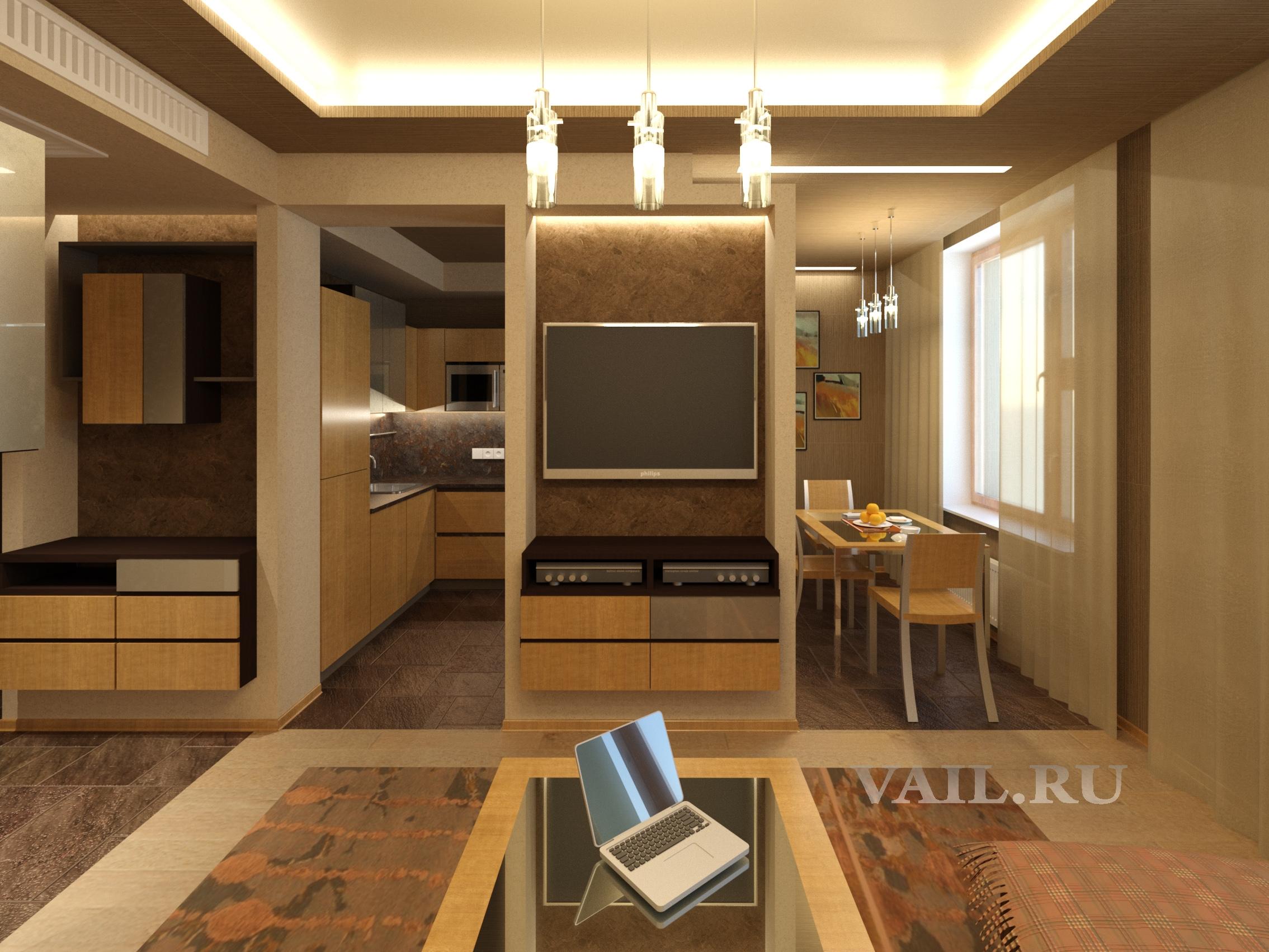 Вид ТВ стенки и кухни