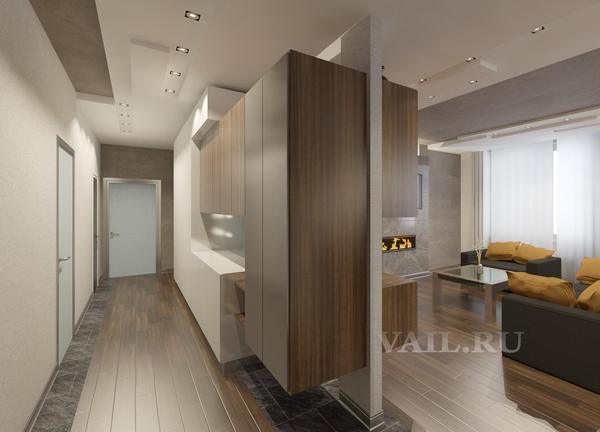 Вариант коридора со шкафами в сложной композиции