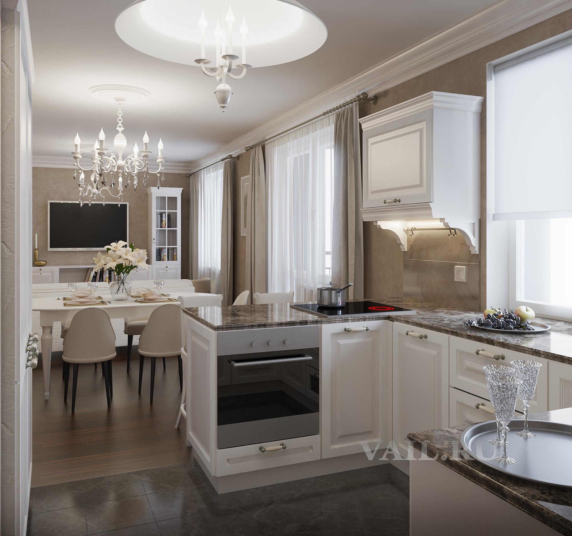 Кухня-столовая в классике