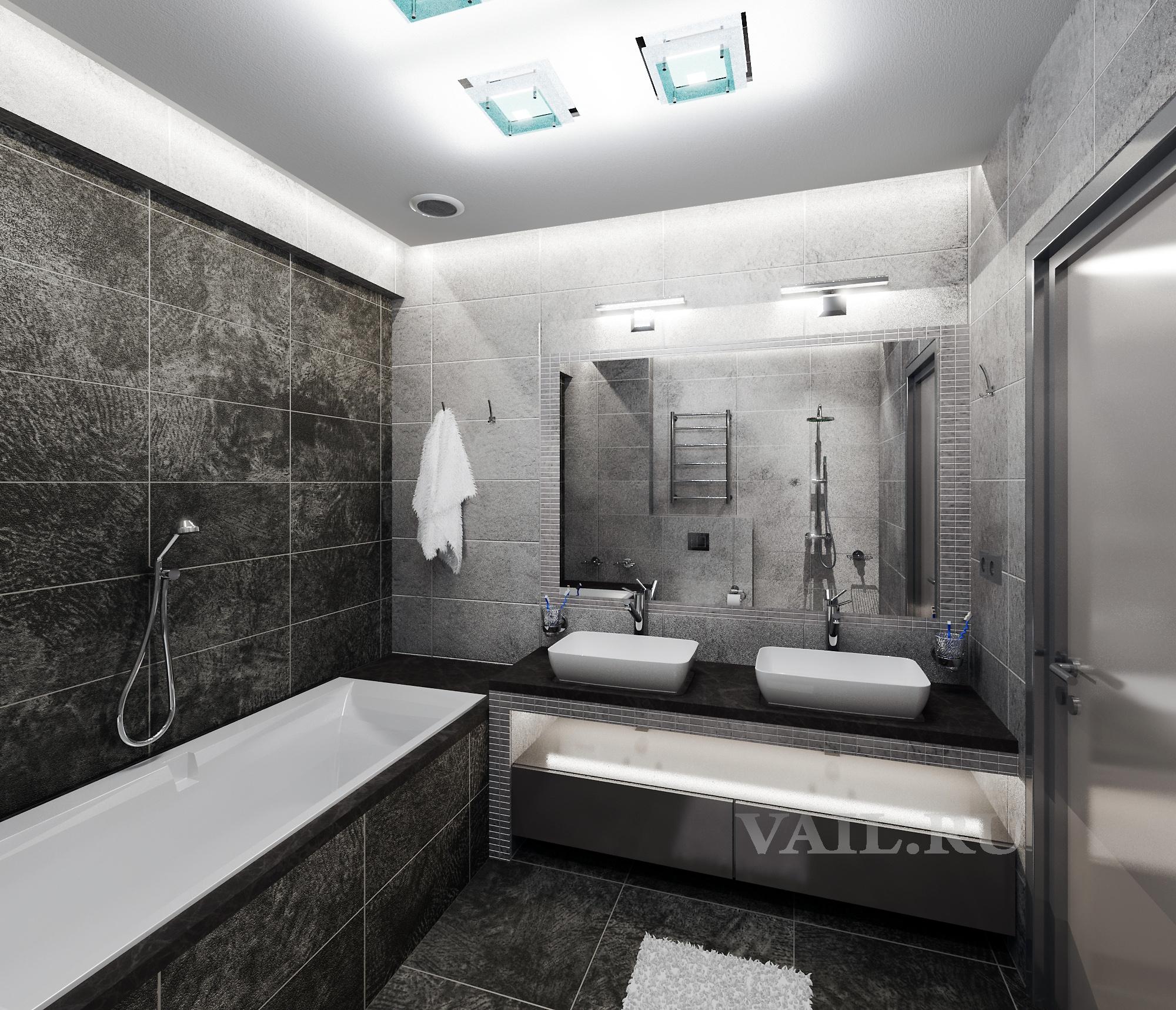 Ванная в минимализме с черной плиткой