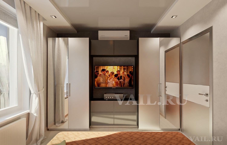Шкаф в спальне с ТВ