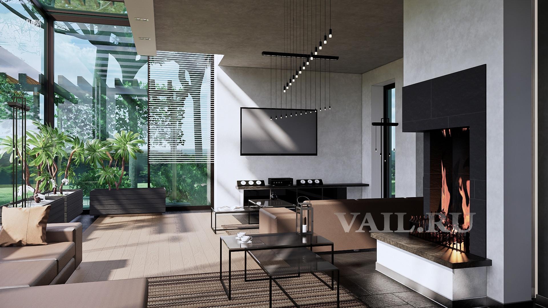 Гостиная от кухни. Камин и ТВ.