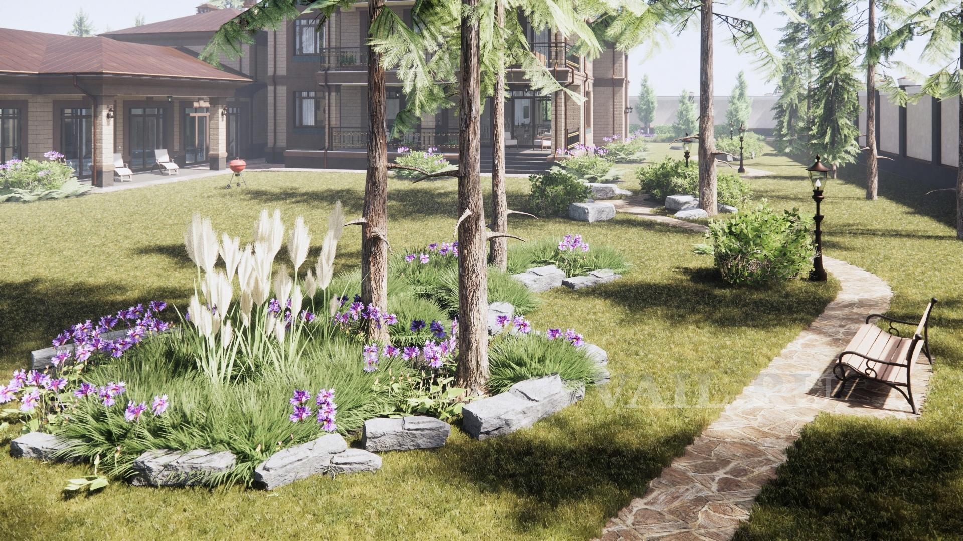 Клумбы с травами и цветами